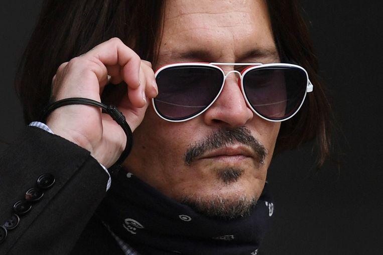 Johnny Depp komt aan op de zevende procesdag in Londen