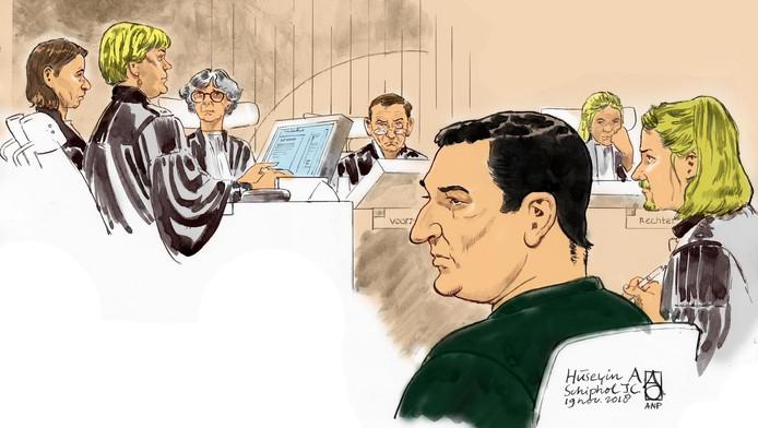 Rechtbanktekening tijdens de behandeling van de strafzaak