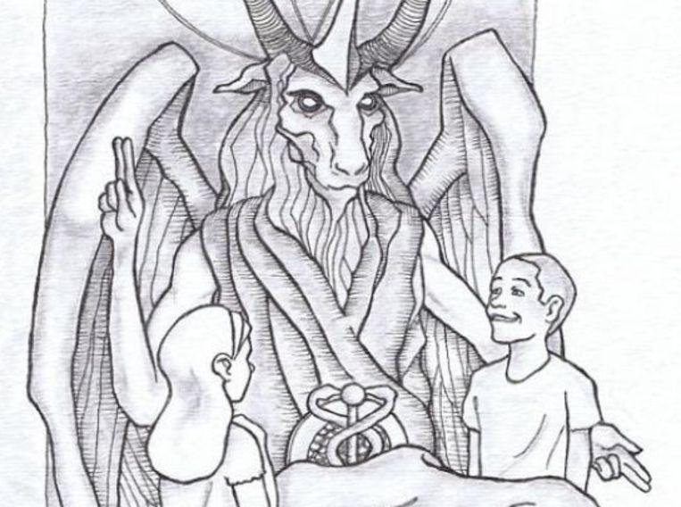Schets van het beeld dat De Satanische Tempel wil plaatsen bij het parlementsgebouw van de staat Oklahoma. Beeld The Satanic Temple