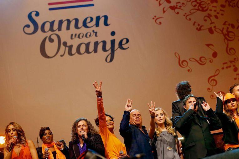 Nederlandse artiesten zongen het Koningslied in 2013 bij de inhuldiging van koning Willem-Alexander. Beeld anp