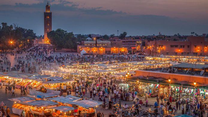 Vue aérienne sur les souks de Marrakech.