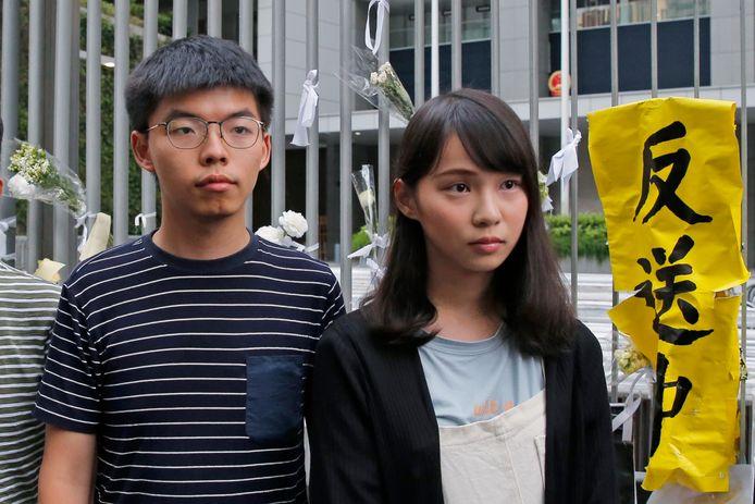Joshua Wong en Agnes Chow in Hong Kong in 2019.