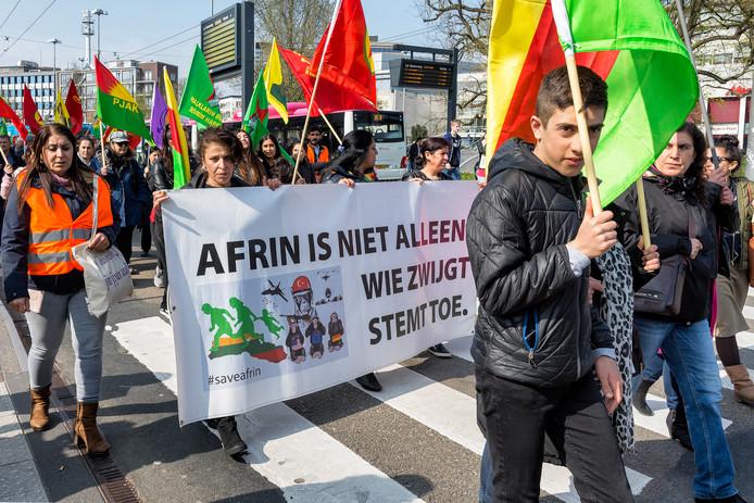 Demonstratie Koerden in Arnhem tegen de bezetting van de stad Afrin.