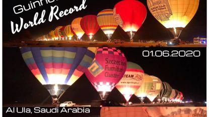 Nightglow met 100 luchtballonnen op één lijn in woestijn van Saoedi-Arabië: Wase ballonvaarders vestigen mee wereldrecord voor Guinness Book of Records
