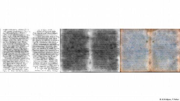 Aanvankelijk waren slechts enkele woorden in het Grieks leesbaar op de velletjes (foto rechts). Dankzij de computertechniek kon negentig procent van de tekst worden ontcijferd (foto links).