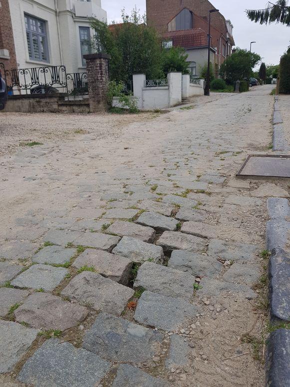Het zand tussen de kasseien op de Landhuizenweg werd niet opgevuld en dus vreest Ronald Petit dat na vochtinsijpeling de stenen uit de grond zullen vriezen in de winter.
