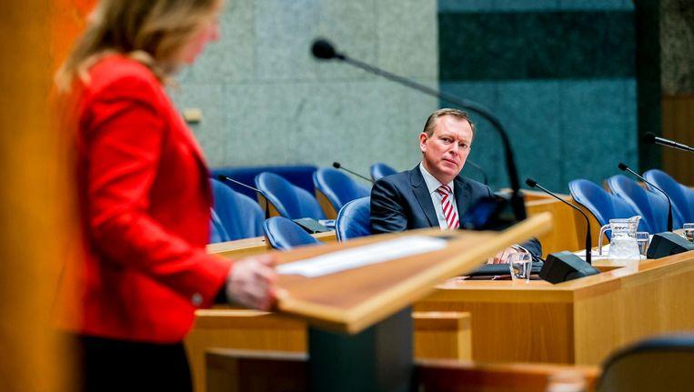 Minister Bruins twee weken geleden tijdens het Kamerdebat over het faillissement van het MC Slotervaart. Beeld anp