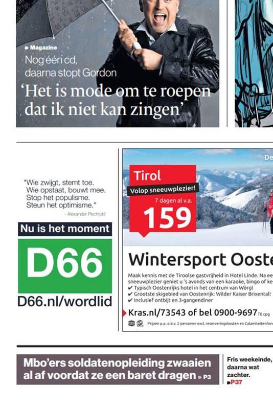 De advertentie op de voorpagina.