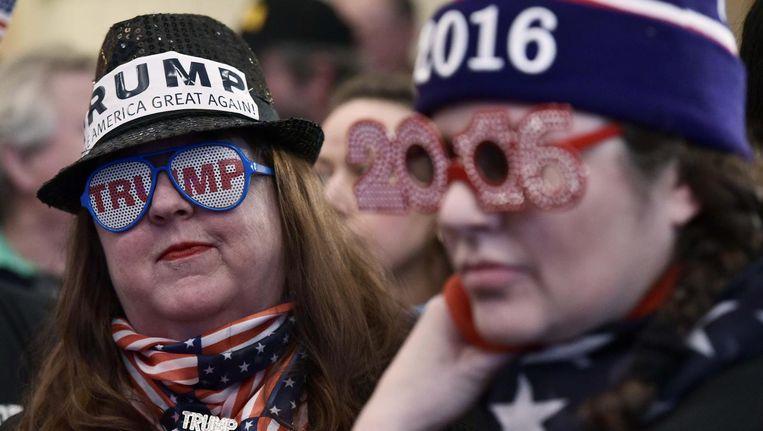 Trump-aanhangers tijdens een rally in Atkinson, New Hampshire op 4 november. Beeld afp
