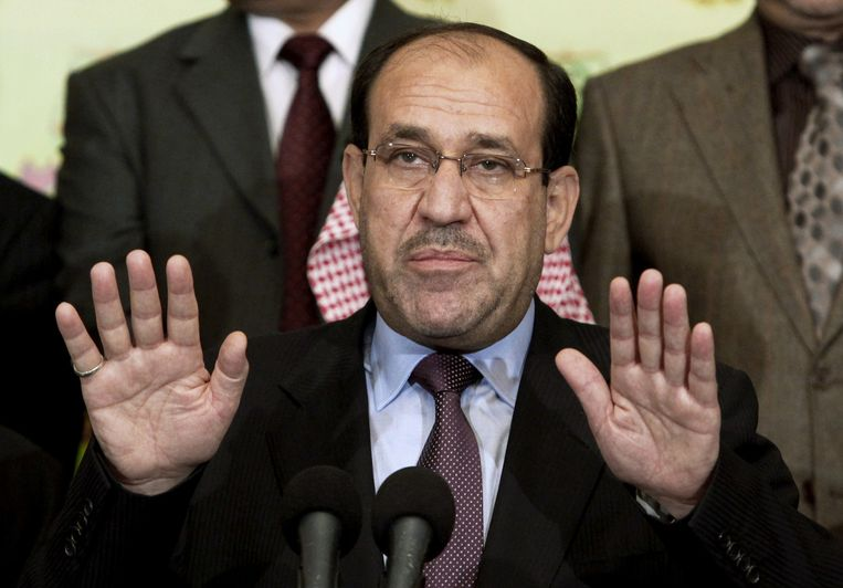 Nuri al-Maliki maakte gisteren zijn aftreden als premier bekend tijdens een tv-toespraak. Beeld ap