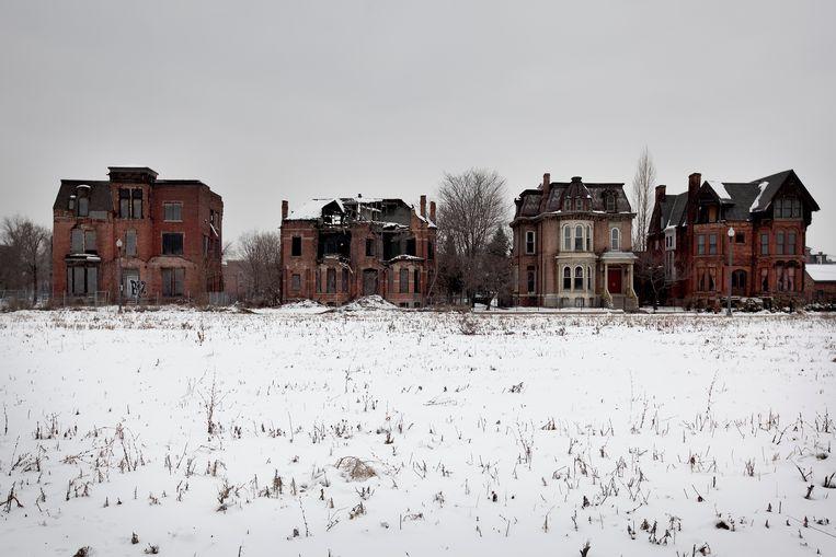 Verlaten huizen nabij het ooit welvarende Brush Park in Detroit, 2010. Beeld null