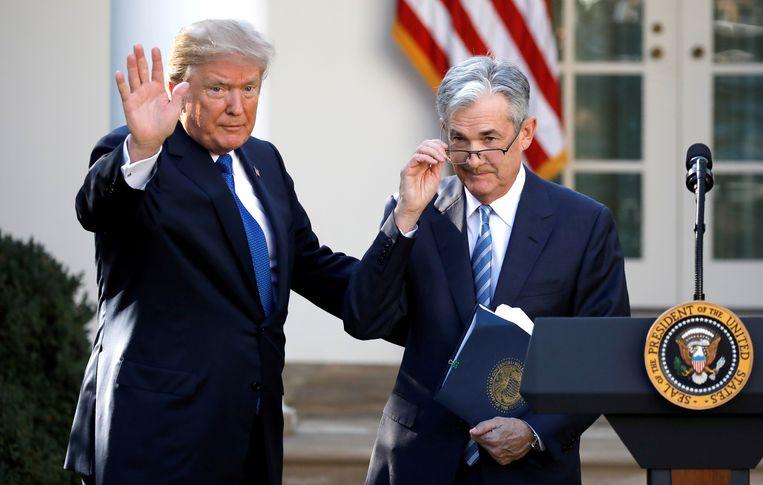 President Donald Trump met Jerome Powell van de Amerikaanse centrale bank.   Beeld Reuters