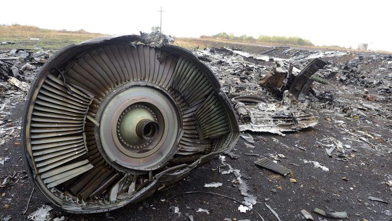 Een deel van het rampvliegtuig bij het dorpje Grabovo. Beeld afp