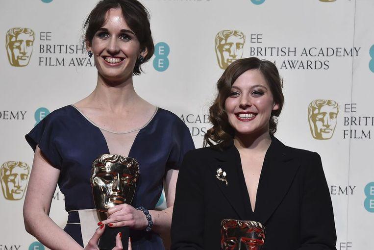De Nederlandse regisseur Nina Gantz (rechts) heeft in Londen een Bafta gewonnen met haar korte animatie Edmond. Beeld anp