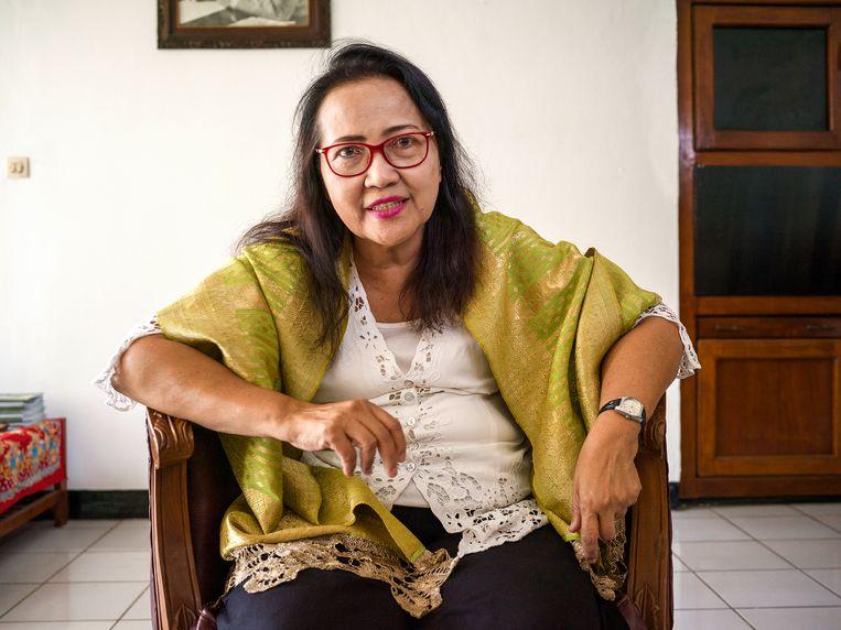 Emalia Sukarni-Lukman in het Proclamatiemuseum in Jakarta. Beeld Suzanne Liem