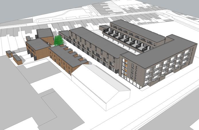 Impressie van de nieuwe woningen, de hoge woonlaag grenst aan de Galjoenstraat.