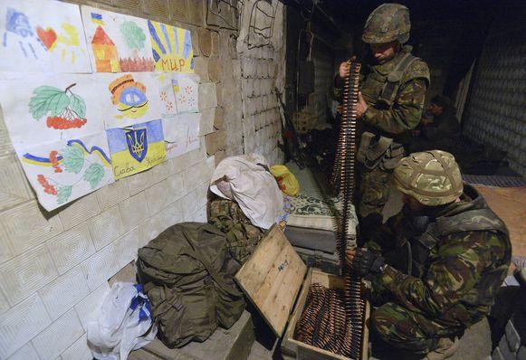 Leden van het Oekraïense vrijwilligerskorps, nabij Donetsk, gisteren.