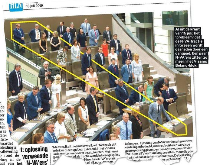 Bij de huidige verdeling zitten een aantal verweesde N-VA'ers bij het Vlaams Belang in het vak. Beeld uit de krant van 16 juli van dit jaar.