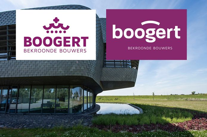 Bouwbedrijf Boogert in Oosterland is op de vingers getikt vanwege een kroontje in het logo. Het heeft daarom een nieuw logo met boog laten onderwerpen (rechts). Op de achtergrond het hoofdkantoor in Oosterland.
