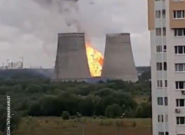 Op beelden is de zware brand te zien.