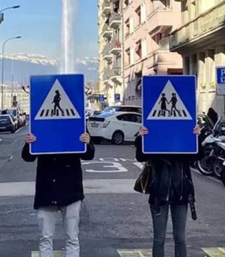 Vrouwen, ouderen en stelletjes in plaats van mannen op verkeersborden in Genève