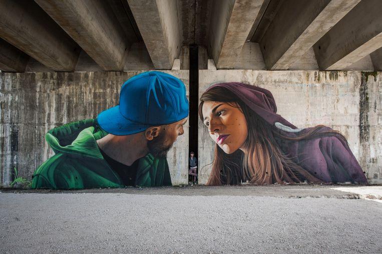 Een voorbeeld van een werk van Lonac. Deze kunstenaar zal een hyperrealistisch werk maken op een 40 meter hoge muur in de Nieuwe Stad.
