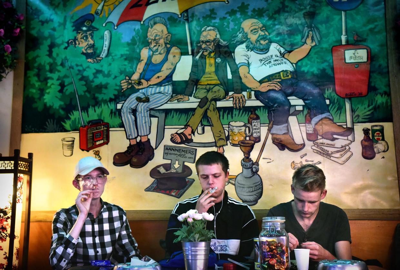 Wietrokers in coffeeshop Zero Zero in Arnhem, een van de steden die meedoen aan het experiment met gereguleerde wiethandel.
