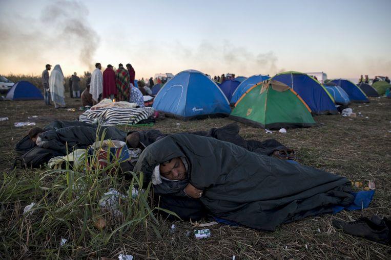 Vluchtelingen bij een geïmproviseerd kamp in Roszke, Hongarije. Beeld reuters