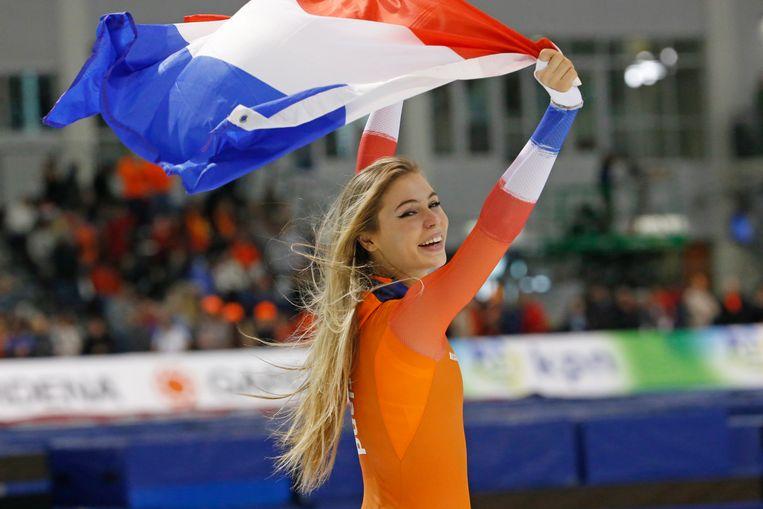 Goud voor Jutta Leerdam op de 1.000 meter op de WK Afstanden in Salt Lake City. Beeld AP