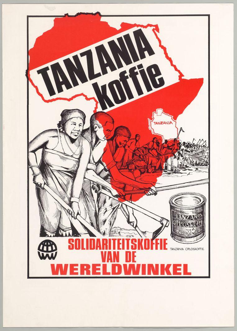Affiche van de Wereldwinkels voor 'solidariteitskoffie' uit Tanzania. Beeld IISG