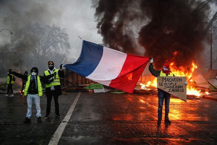 Gele Hesjes-demonstranten tijdens één van de wekelijkse demonstraties in Parijs, hier in december 2018.
