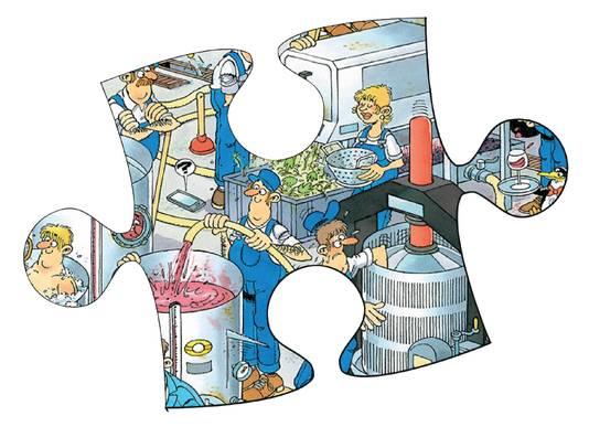 Een stukje van de legpuzzel De Wijnmakerij, getekend door Nijmegenaar Rob Derks.