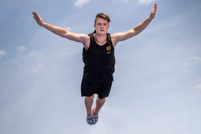 Nederland,  Den Bosch, trampoline springer Milco Abrahams