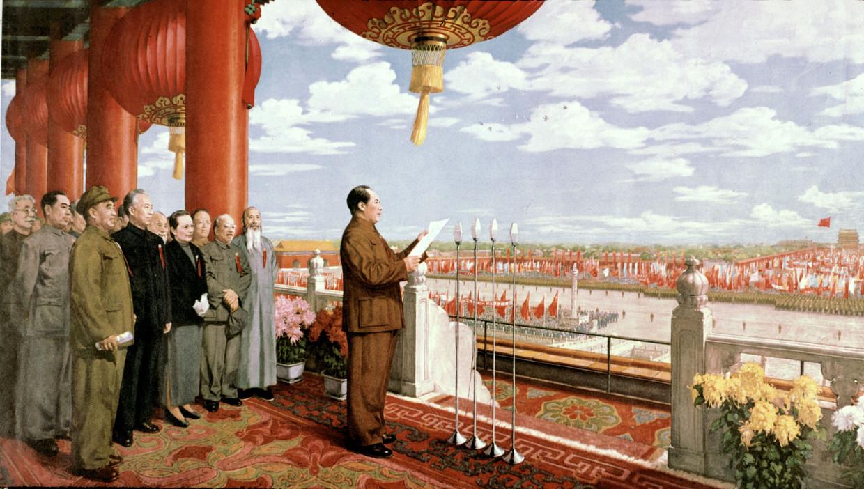 1 oktober 1949, Mao Zedong kondigt op deze prent de oprichting van de Volksrepubliek China aan, met zicht op het Plein van de Hemelse Vrede in Beijing. Beeld Universal Images Group via Getty