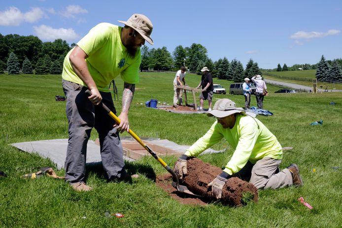 Het gras wordt door archeologen opgerold om onder de zoden te zoeken naar sporen van het festival.