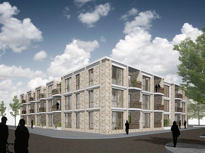 Zo zou het complex met 21 appartementen in Putte, op de hoek van Antwerpsestraat en Breestraat, waar vroeger Taverne Den Hoorn stond, eruit kunnen komen te zien.