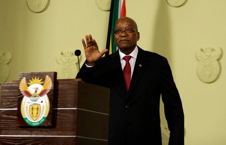 Met een televisietoespraak in Pretoria maakte president Zuma gisteravond zijn aftreden bekend. Beeld AP