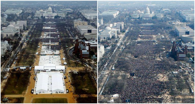 De inauguratie van Donald Trump op 20 januari 2017 (L) en de inauguratie van Barack Obama op 20 januari 2009 (R).