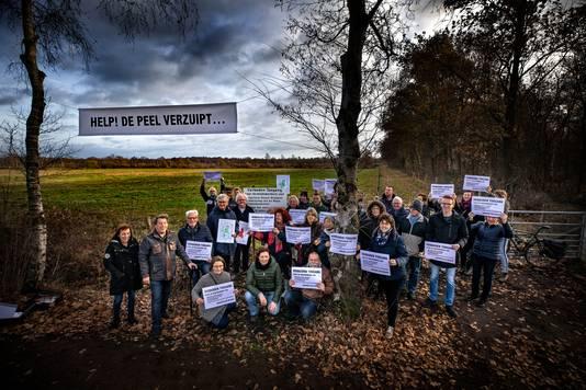 Protest tegen de vernatting van de Peel (archieffoto).