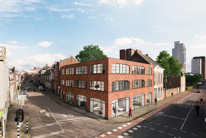 Het aangepaste ontwerp voor de hoek Gasthuisring/Lange Nieuwstraat: een verdieping eraf, geen parkeerkelder meer.