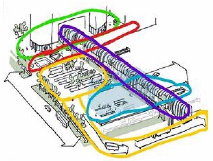 De schets van het nieuwe stationsgebied met een nieuw entreegebouw (groen) en een busstation boven de A12 (geel). De Mandelabrug (paars), Randstadrailhaltes (rood) en NS-station (blauw) veranderen niet van plek.