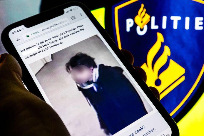 Het opsporingsbericht voor de 27-jarige Thijs H. uit Den Haag.