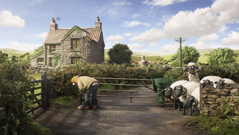 Boer en schapen in actie in Shaun the Sheep Movie Beeld Aardman Animations