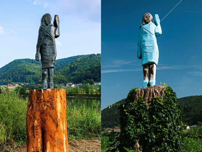 Het nieuwe beeld (links) en het oude dat in brand gestoken werd.