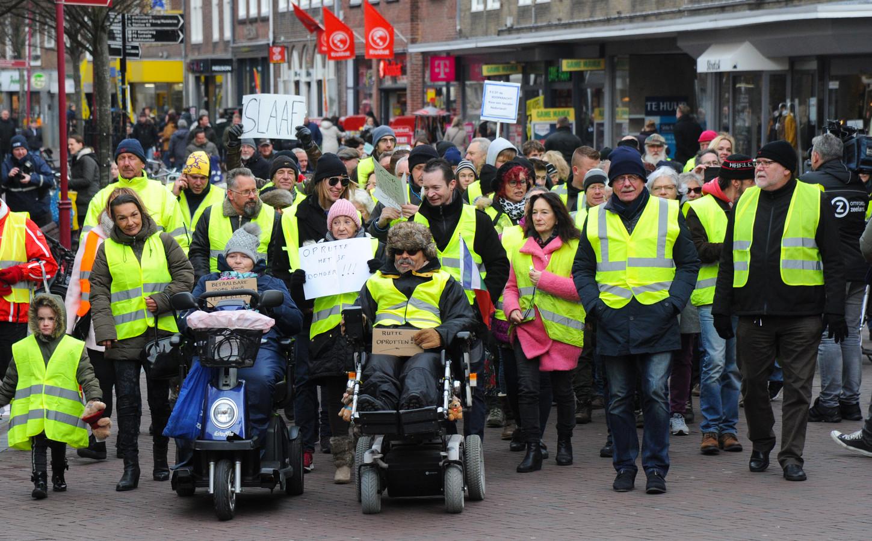 De Zeeuwse Gele Hesjes tijdens hun demonstratie in Middelburg vorige maand.