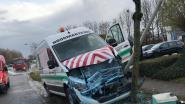 Bestelwagenchauffeur wordt onwel en knalt tegen verlichtingspaal