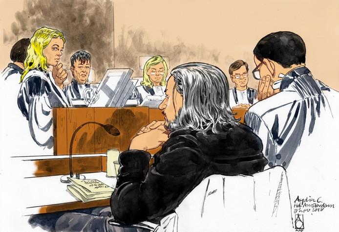 Rechtbanktekening van verdachte Aydin C. met zijn advocaat mr. R. Malewicz.
