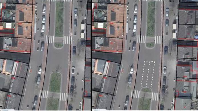 Links de huidige situatie en rechts de geplande laad- en loszone in het centrum van Son.