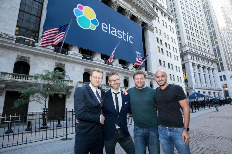 De oprichters van Elastic: Simon Willnauer, Steven Schuurman, Uri Boness en Shay Banon. Beeld NYSE via Elastic