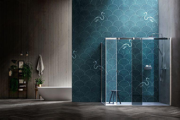 Badkamer Met Marmer : Luxe in de badkamer: goud marmer behangpapier een tv woon